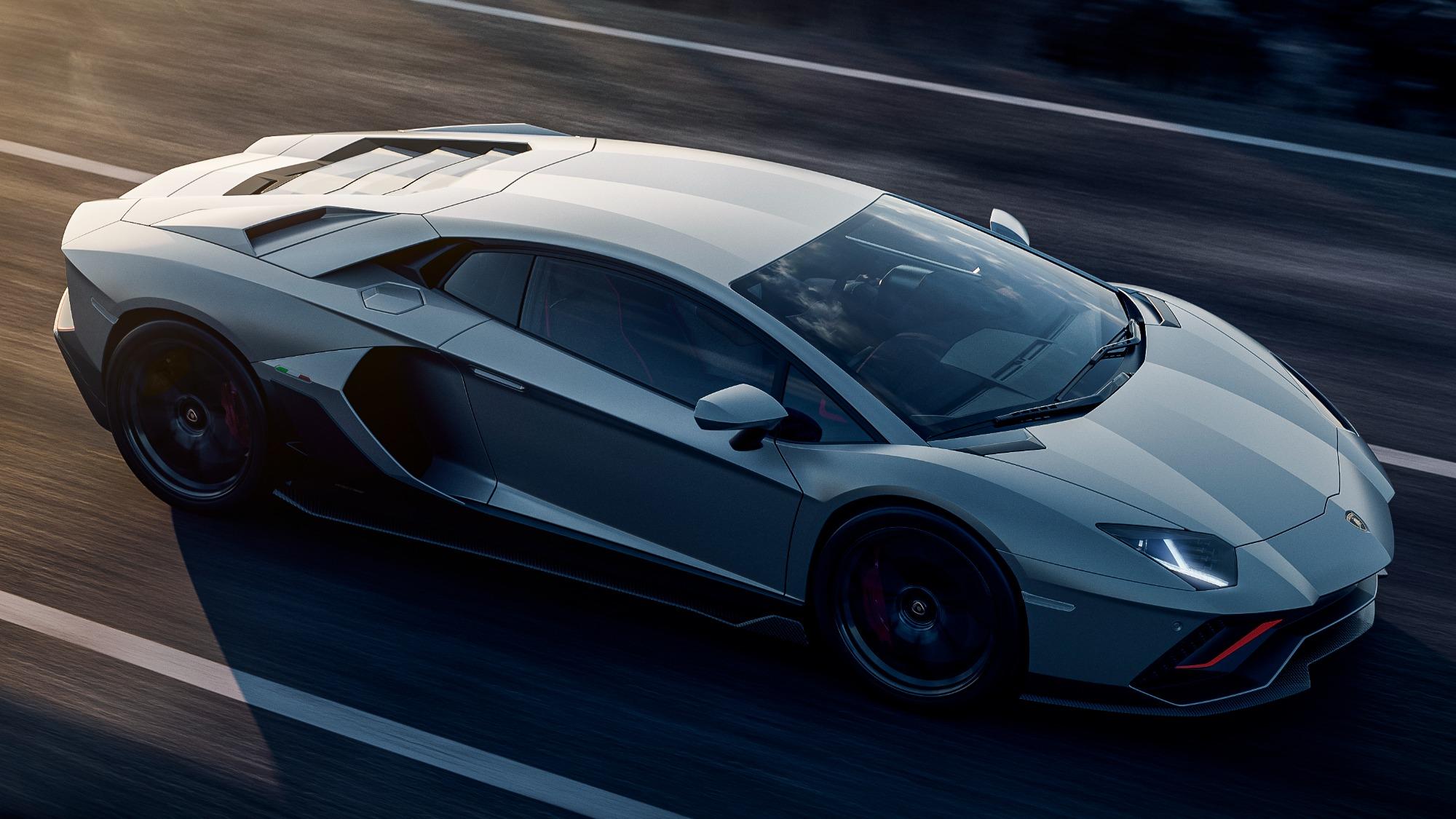 Lamborghini Aventador Ultimae prata visto por cima