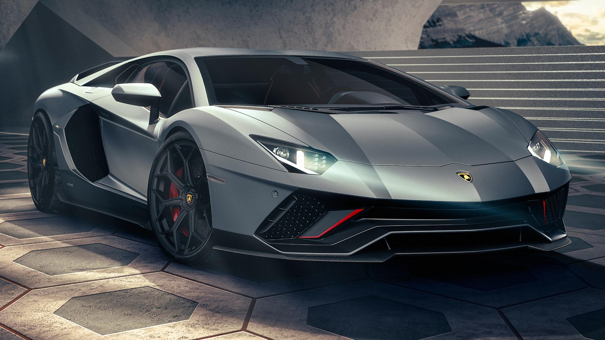 Lamborghini Aventador Ultimae prata visto 3/4 de frente