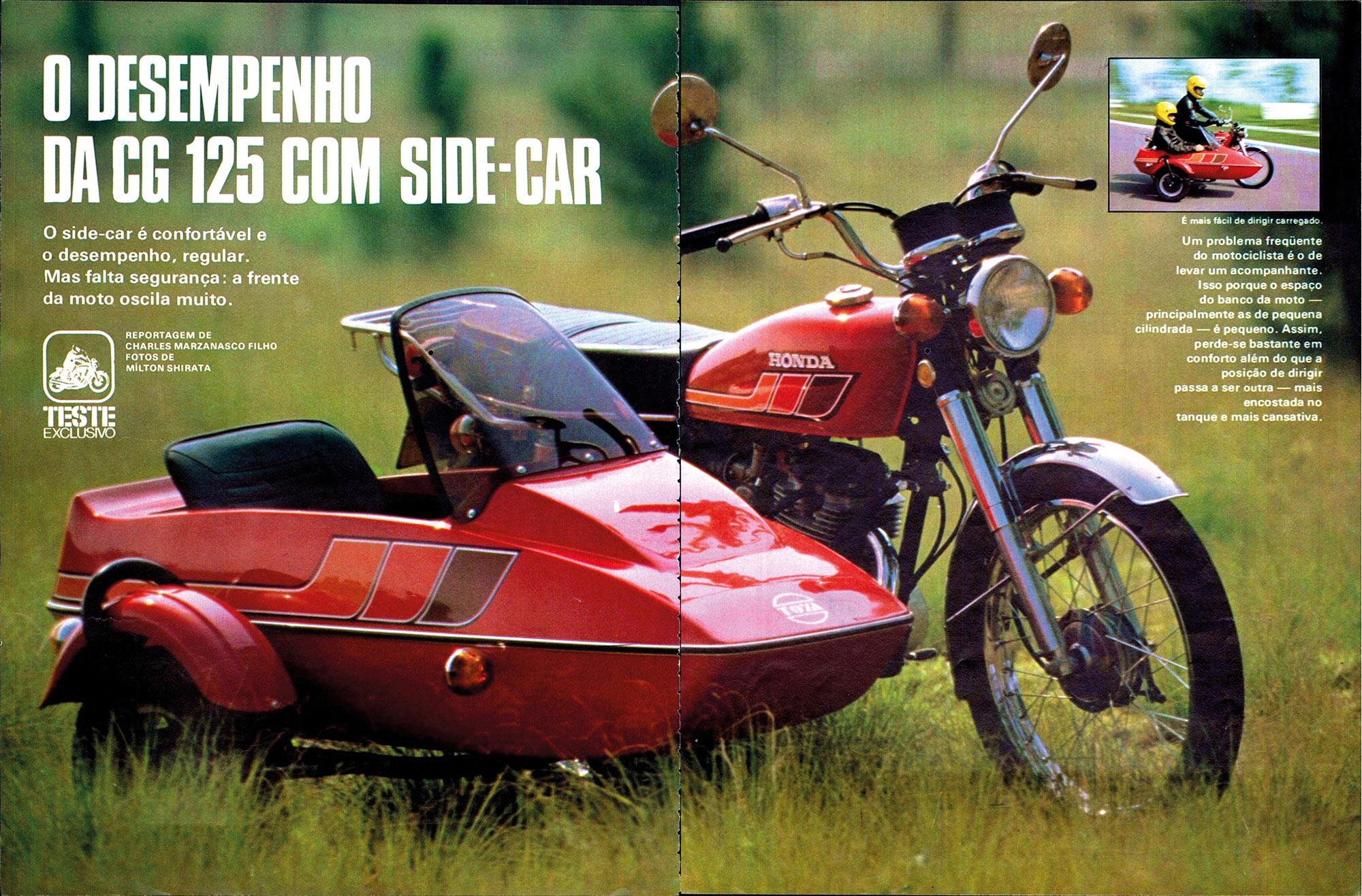 Honda CG sidecar vermelha vista de frente