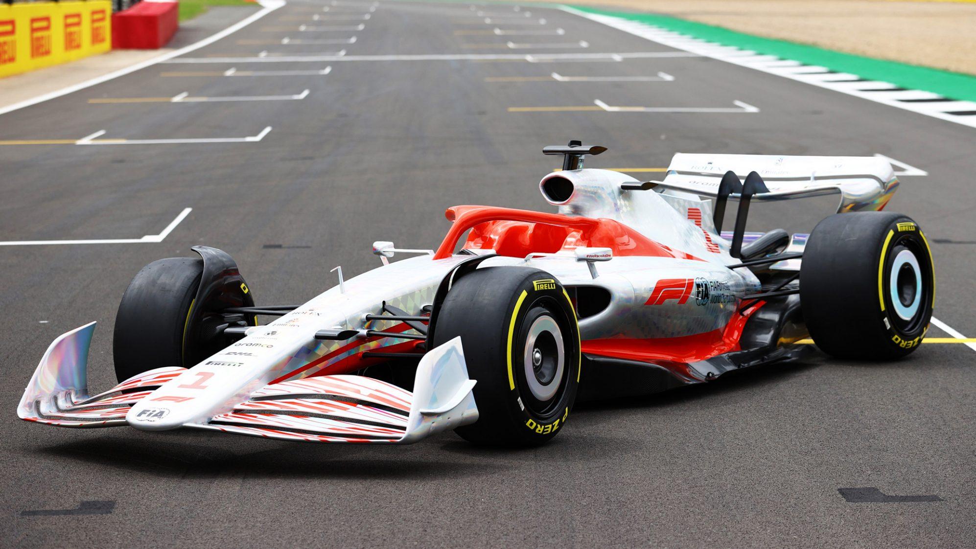Carro-conceito da F1 para 2022 visto 3/4 de frente