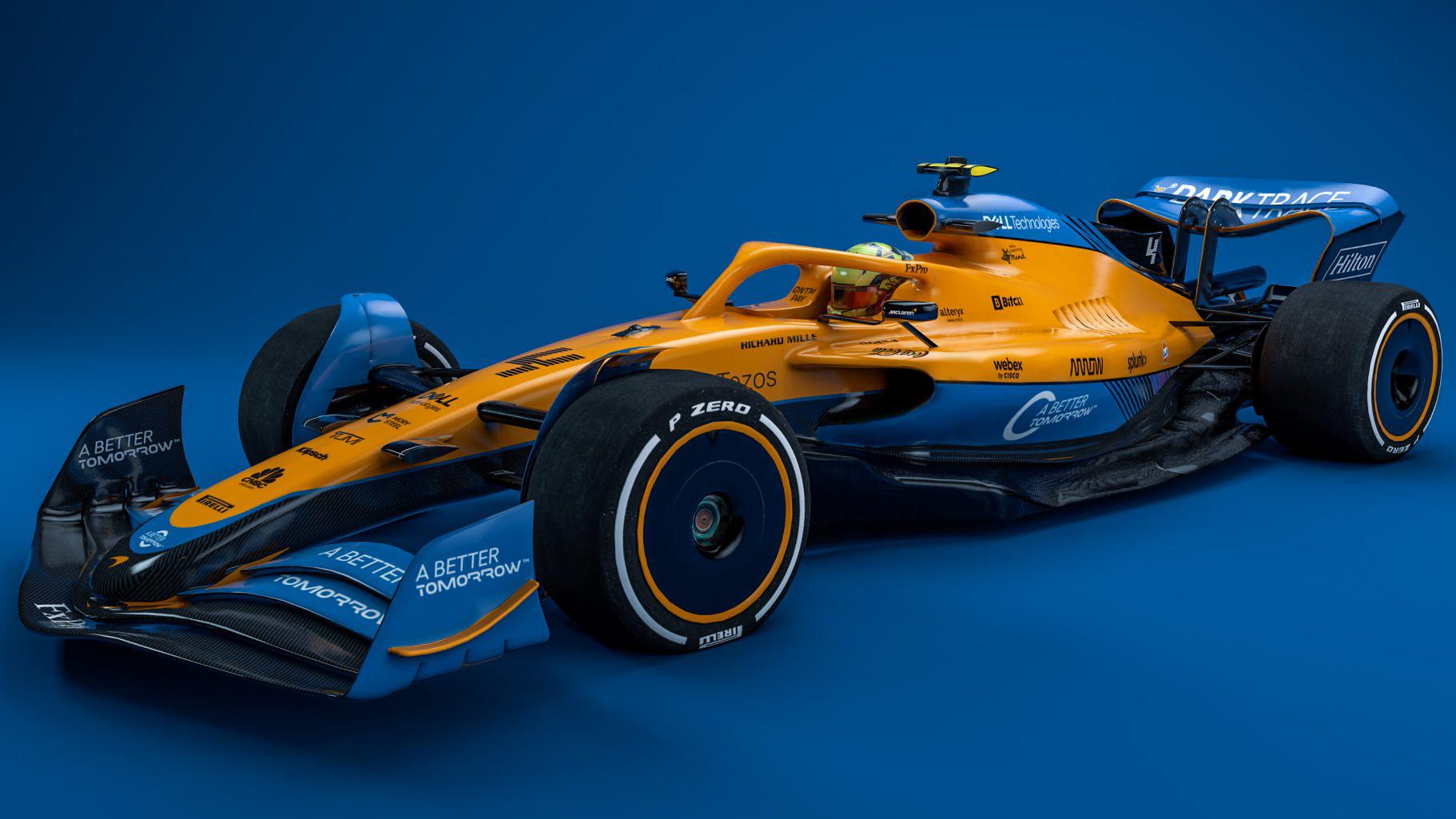 Carro-conceito da F1 para 2022 visto 3/4 de frente com as cores da McLaren