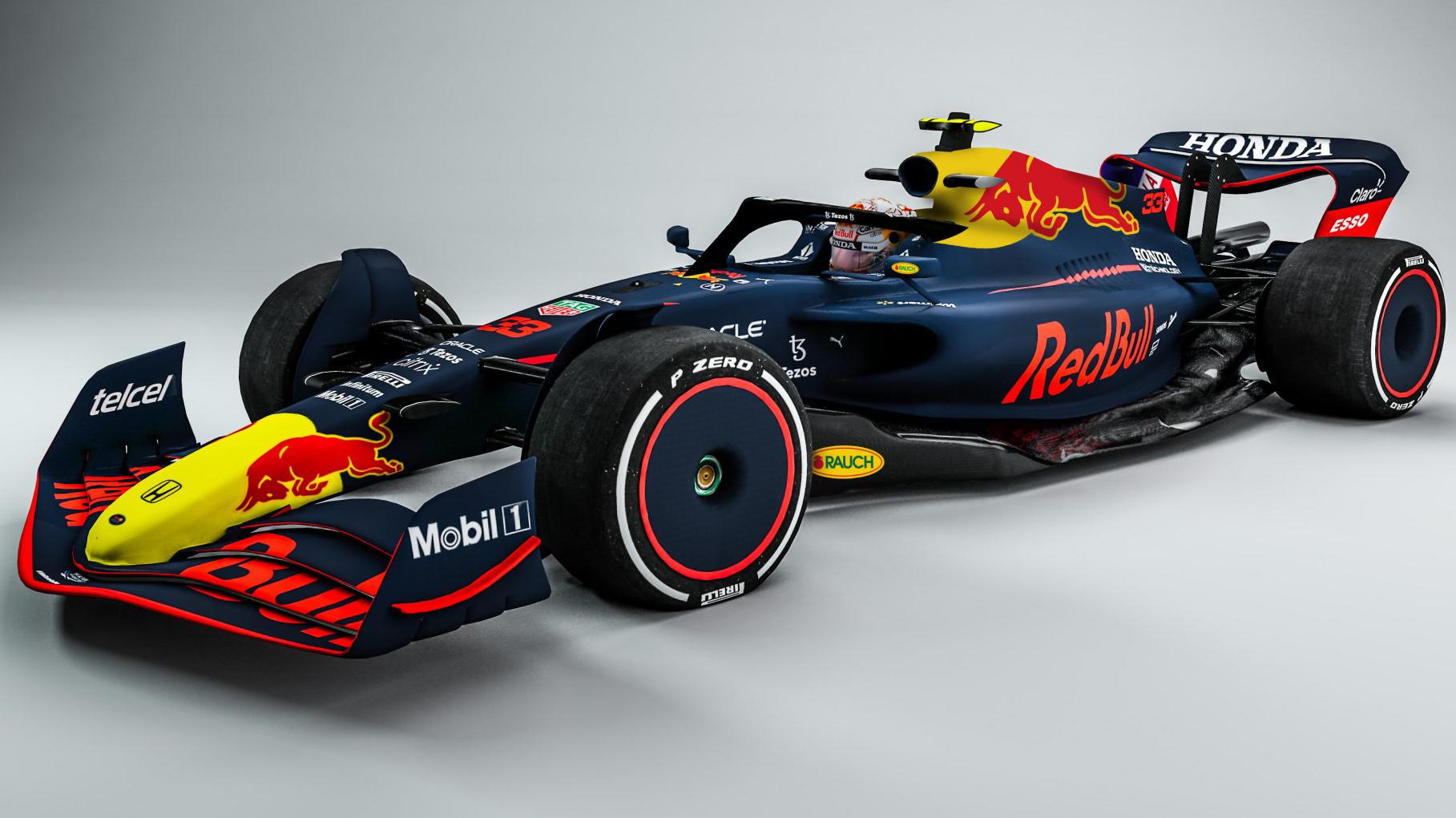 Carro-conceito da F1 para 2022 visto 3/4 de frente com cores da Red Bull