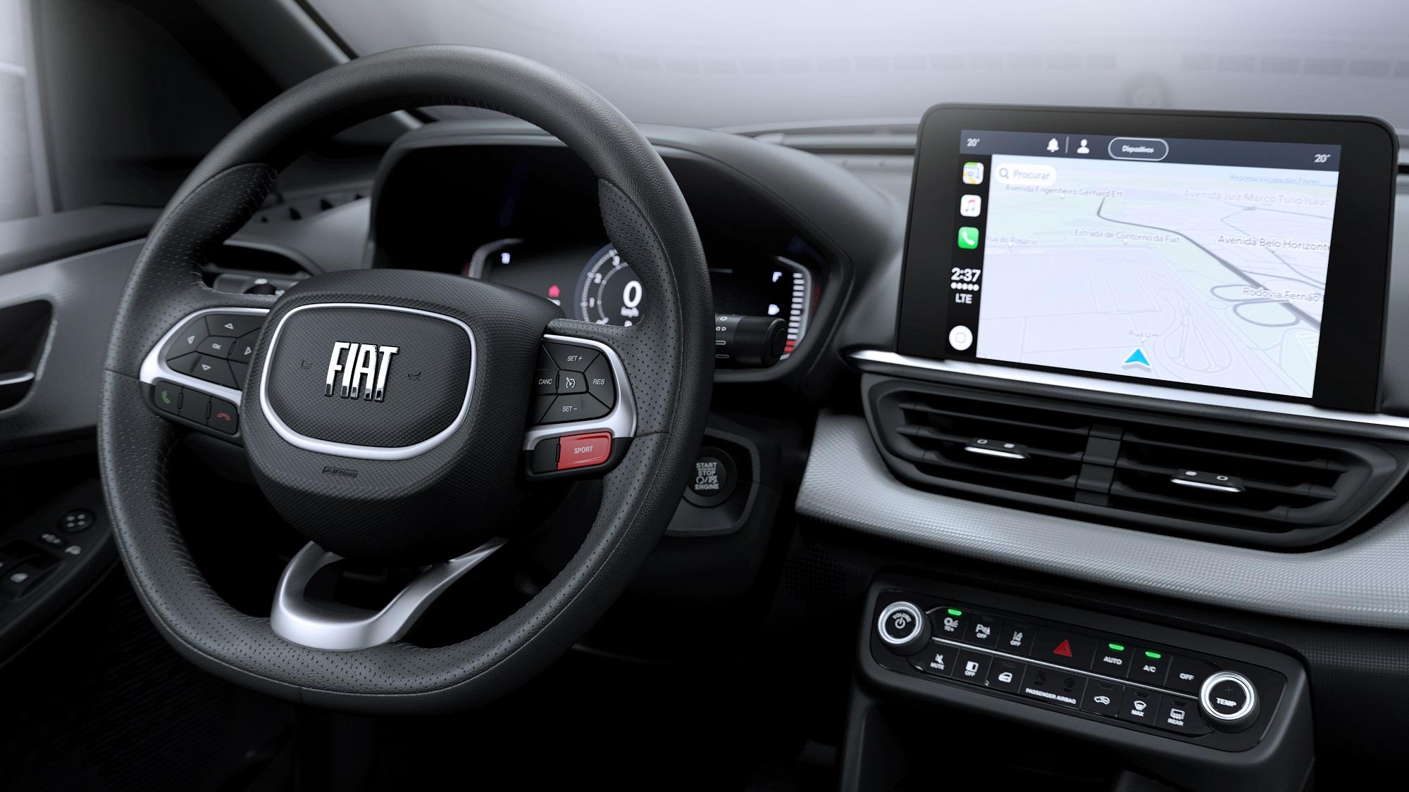 Volante esbelto é acompanhado de partida por botão (ausente nos modelos 1.3) e ar-condicionado digital