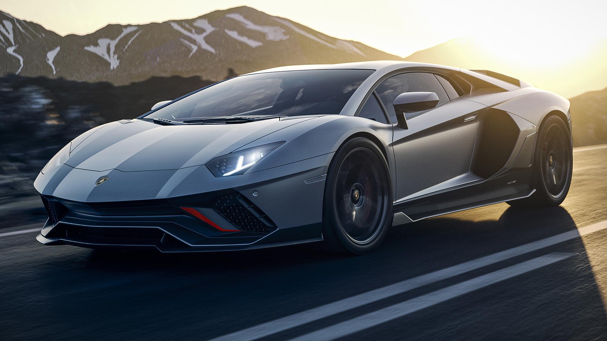Lamborghini Aventador Ultimae prata visto de frente