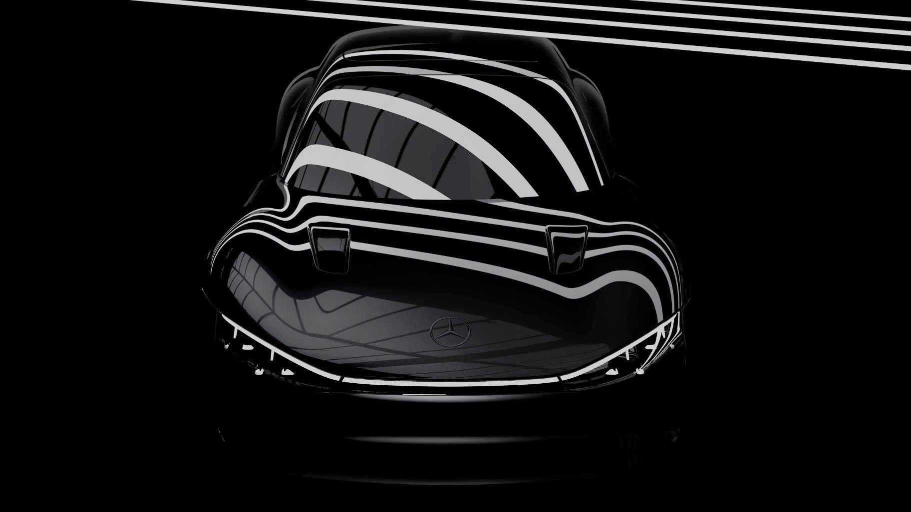 Mercedes Vision EQXX preto visto de frente