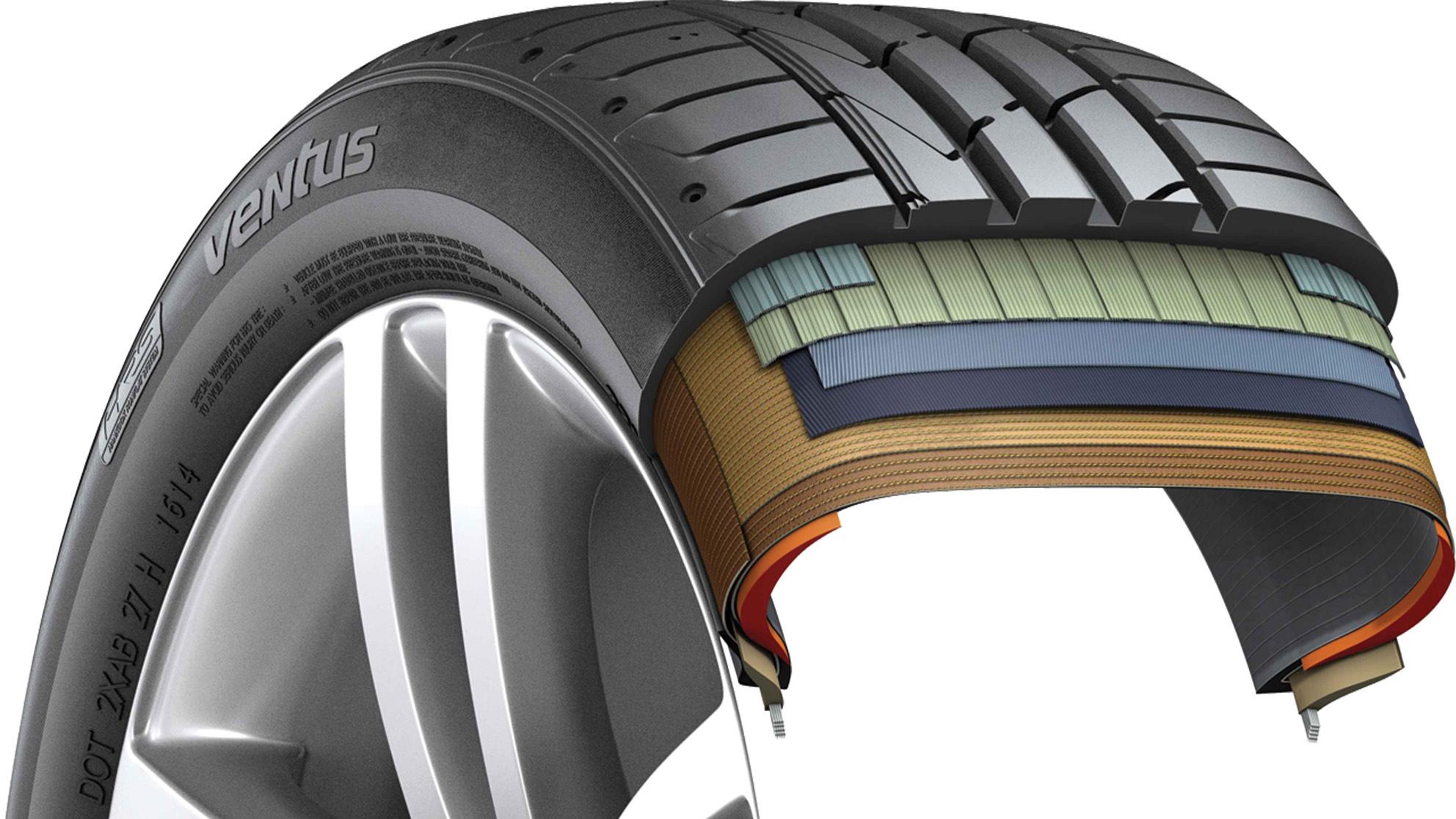 Esquema de estrutura do pneu run flat