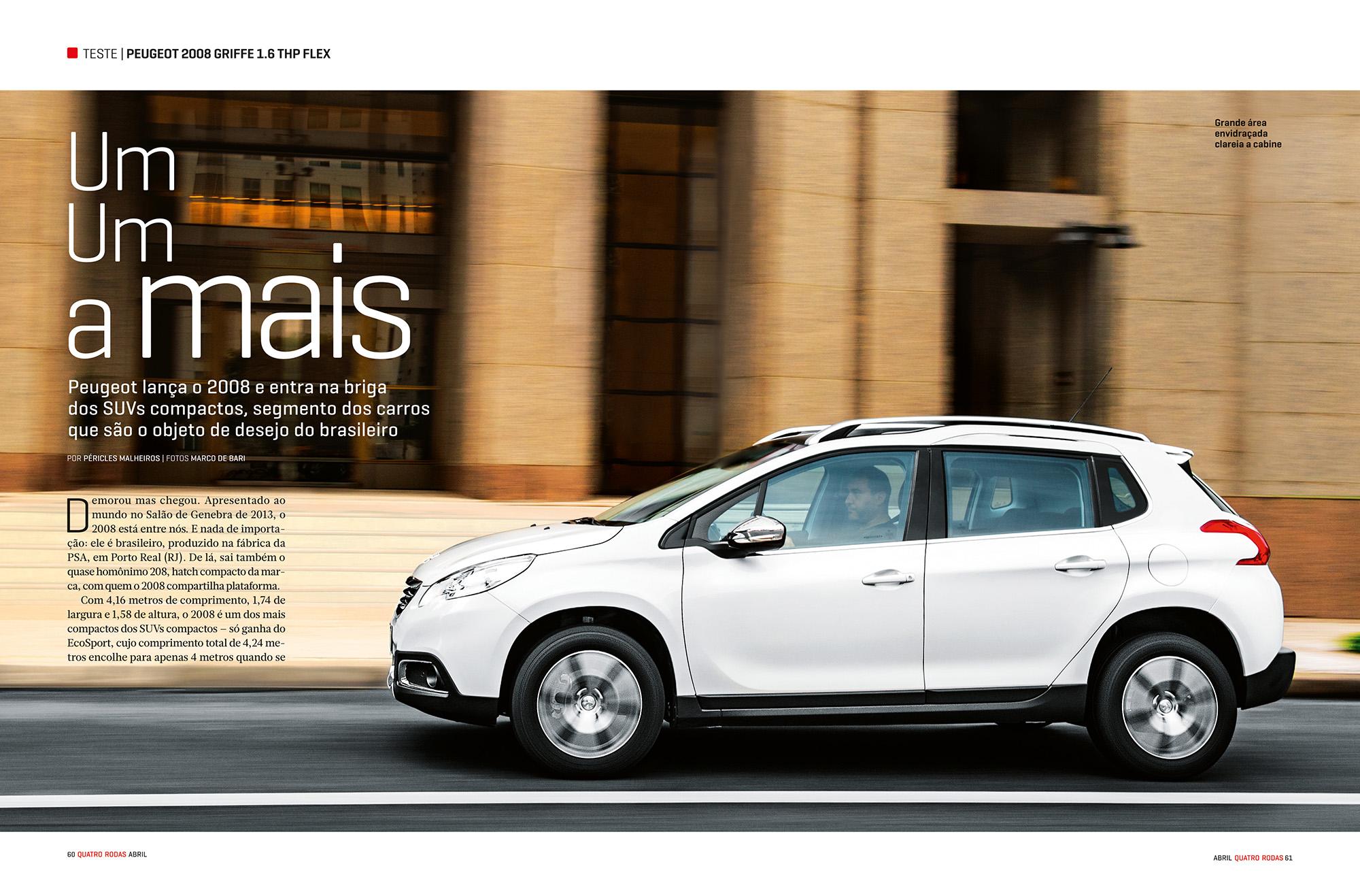 Matéria sobre o Peugeot 2008 na revista Quatro Rodas