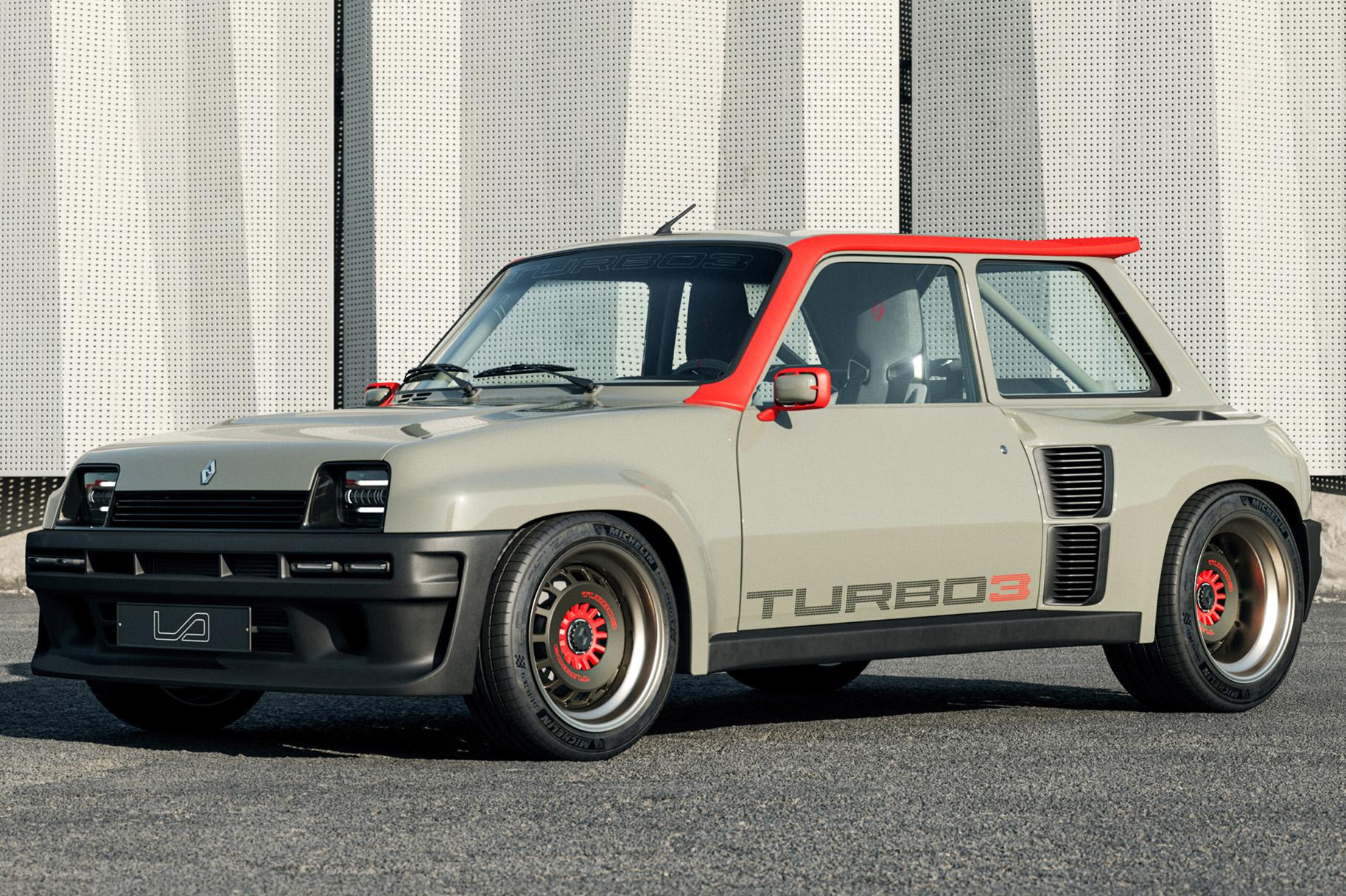 Renault 5 Turbo 3 cinza e laranja visto 3/4 de frente