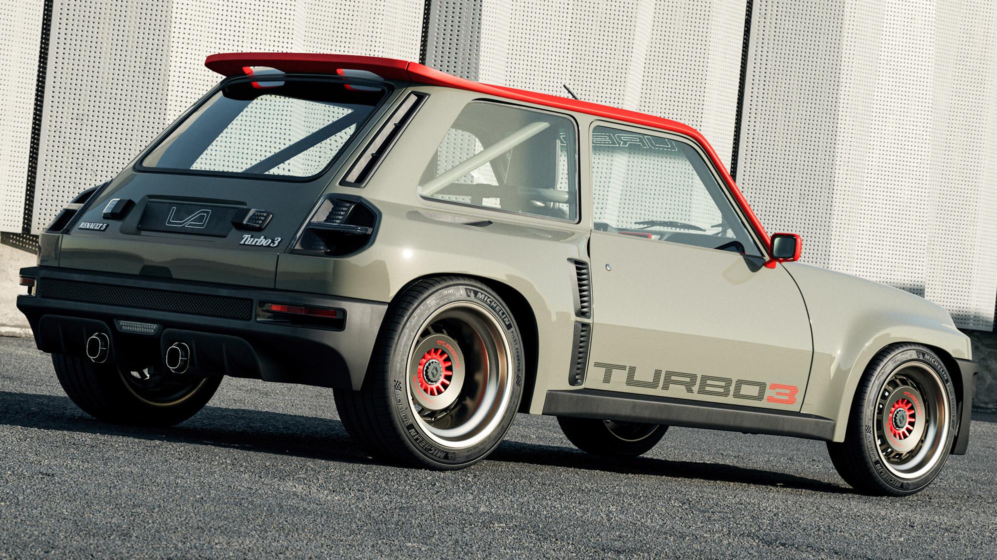 Renault 5 Turbo 3 cinza e laranja visto 3/4 de trás