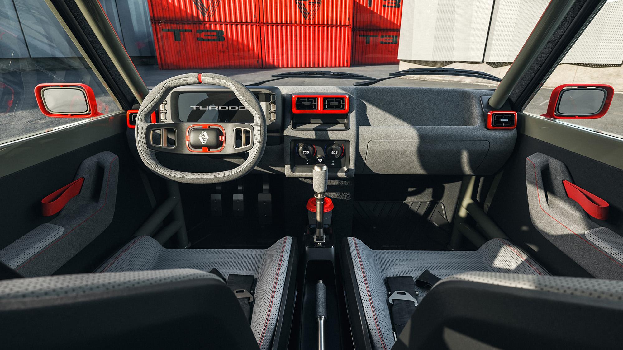 Interior do Renault 5 Turbo 3 visto do banco da frente