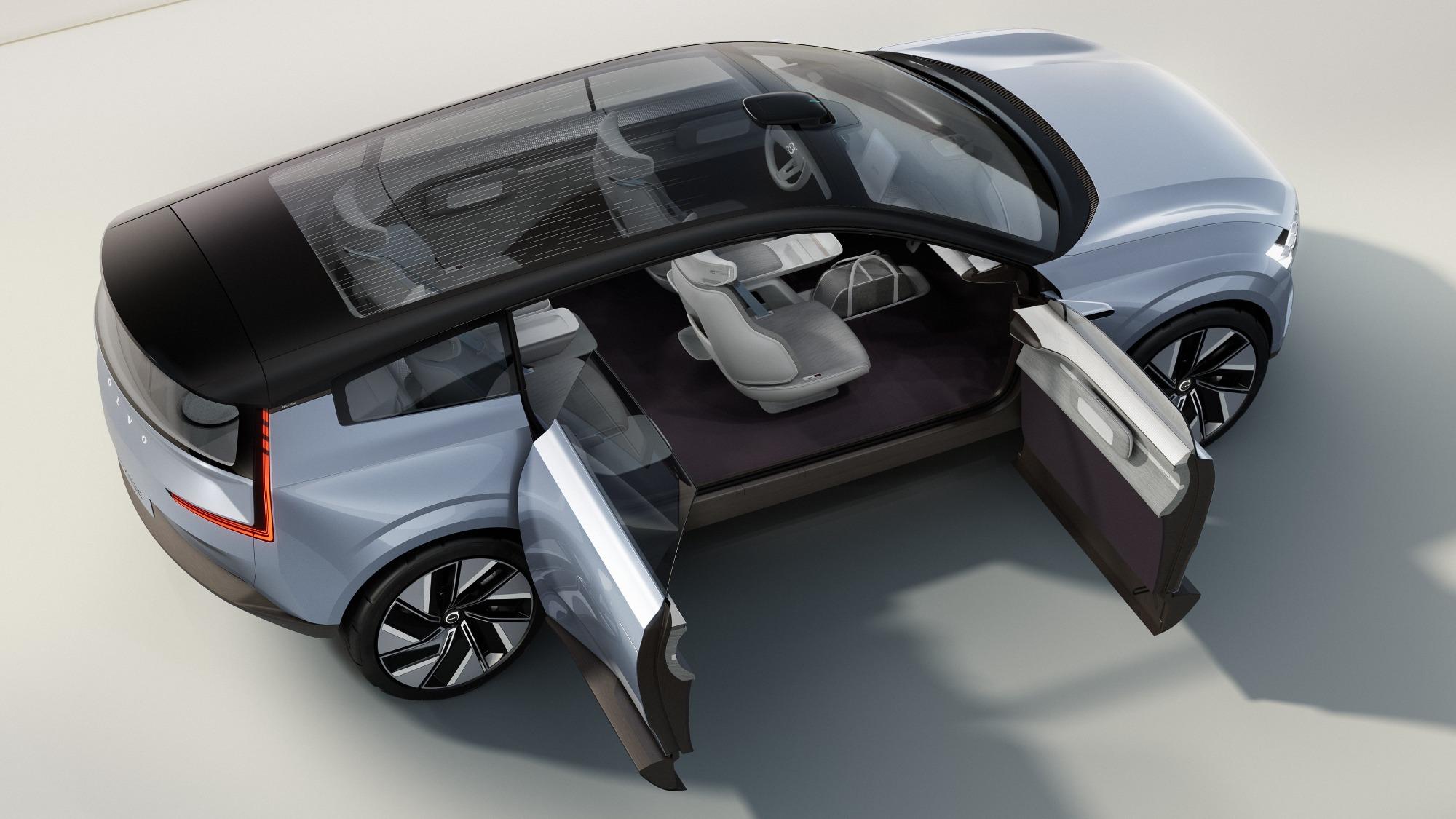 Conceito do Volvo Recharge azul claro visto de cima