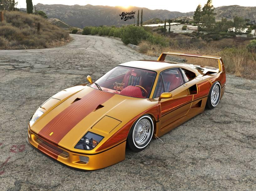 Ferrari F40 lowrider imaginado pelo artista