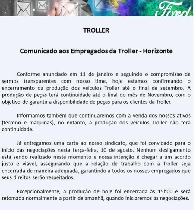 Comunicado distribuído aos funcionários da Troller em Horizonte (CE)