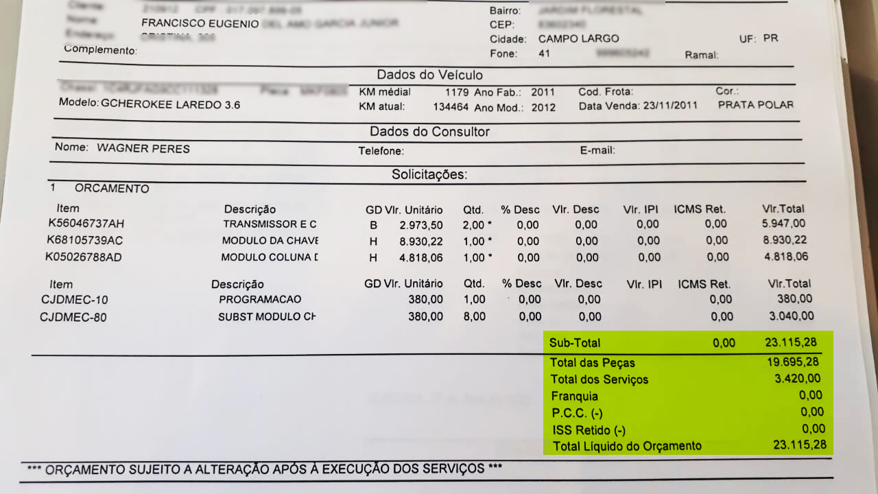 Proprietário paranaense também flertou com a perda total ao orçar reparo de seu Grand Cherokee V6 3.6 de 2011