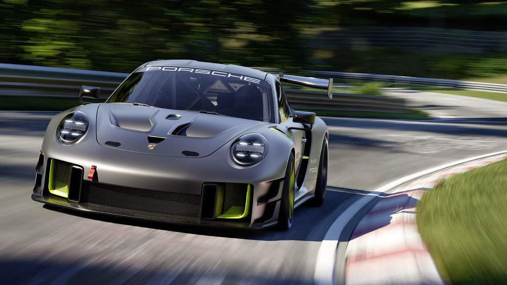 Porsche 911 GT2 RS Clubsport 25 cinza e verde visto de frente