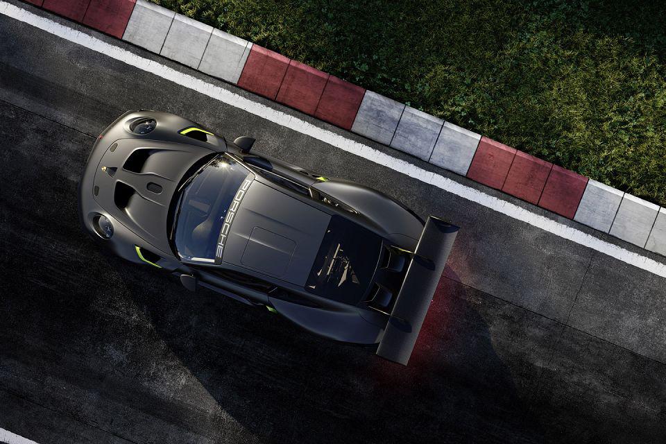 Porsche 911 GT2 RS Clubsport 25 cinza e verde visto de cima