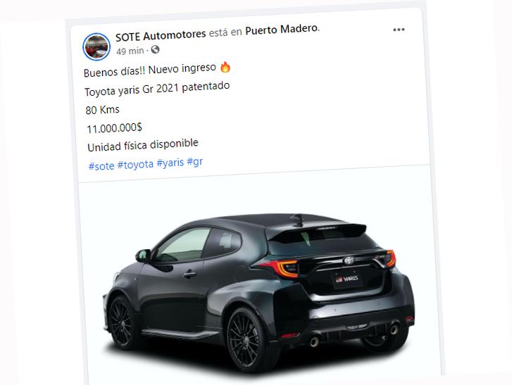 Anúncio da Sote destaca 80 km rodados e emplacamento do modelo já incluído no preço
