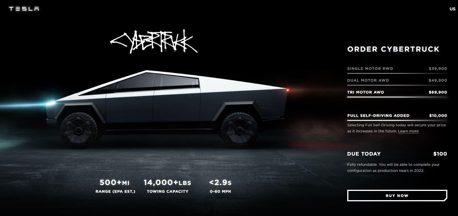 Imagem do site da Tesla com a picape Cybertruck