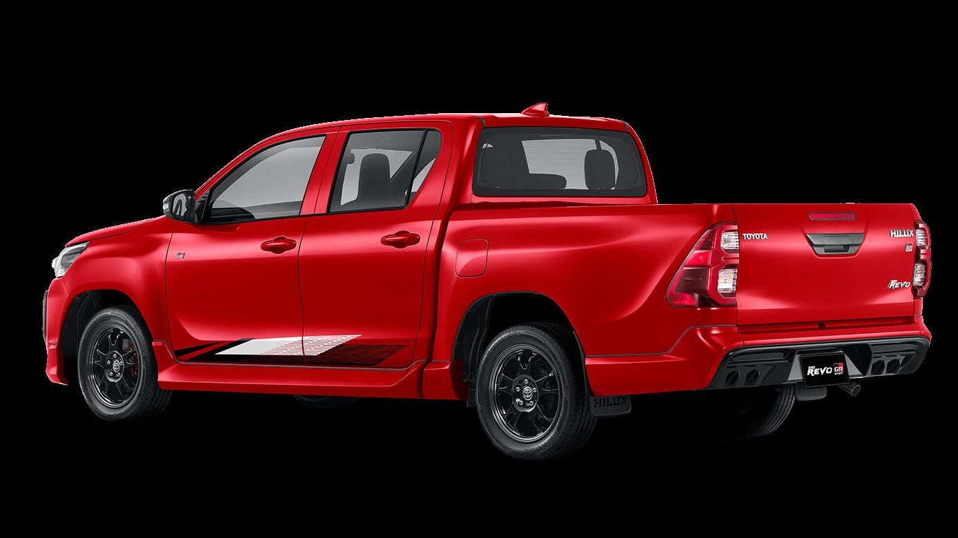 Toyota Hilux Revo GR Sport vermelha vista 3/4 de trás