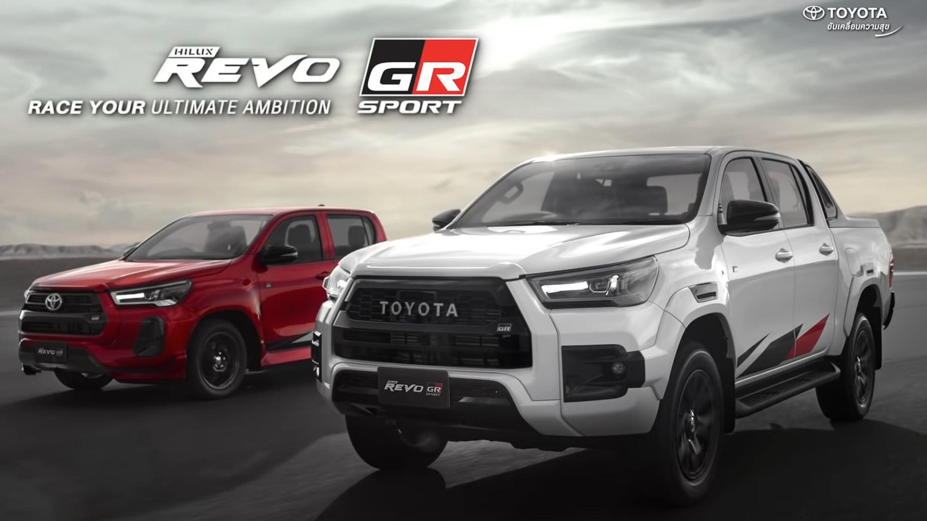 Duas Toyota Hilux Revo GR Sport vermelha e branca vistas 3/4 de frente