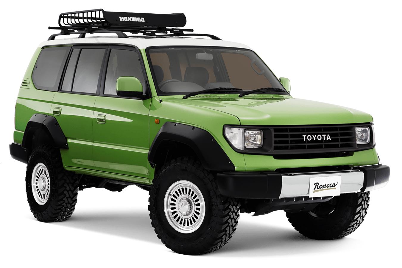 Toyota Land Cruiser Prado verde da Renoca visto 3/4 de frente