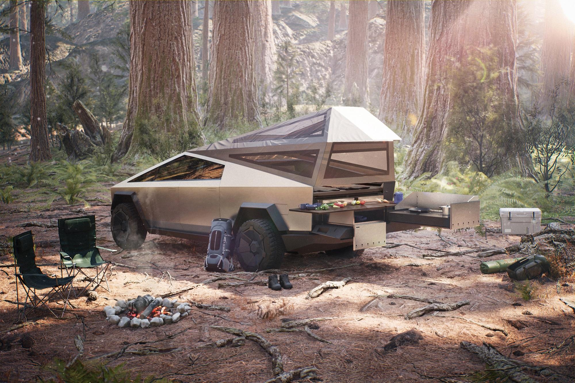 Mais do que chegar ao mato, a Cybertruck proverá energia e ar comprimido ao que for preciso