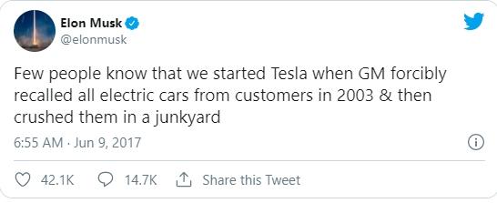 tweet de Elon Musk sobre o recall da gm