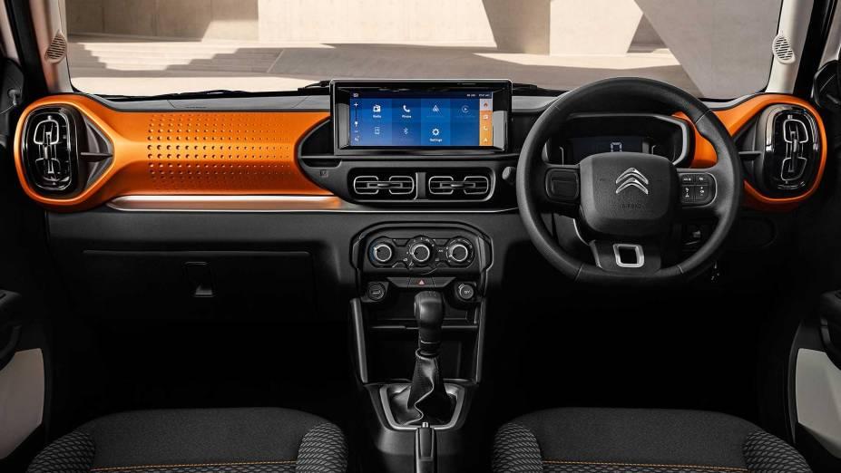 Painel do novo Citroën C3 2023 para o mercado indiano
