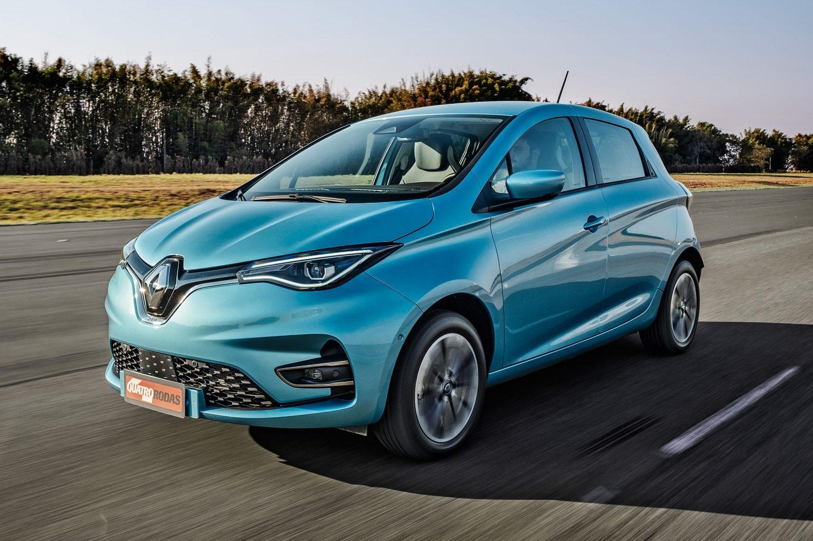 Renault Zoe azul visto 3/4 de frente