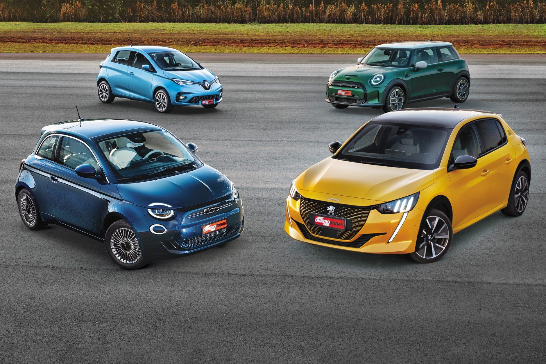 Comparativo: 208 e-GT, 500e, Zoe e Cooper S E dão choque de realidade