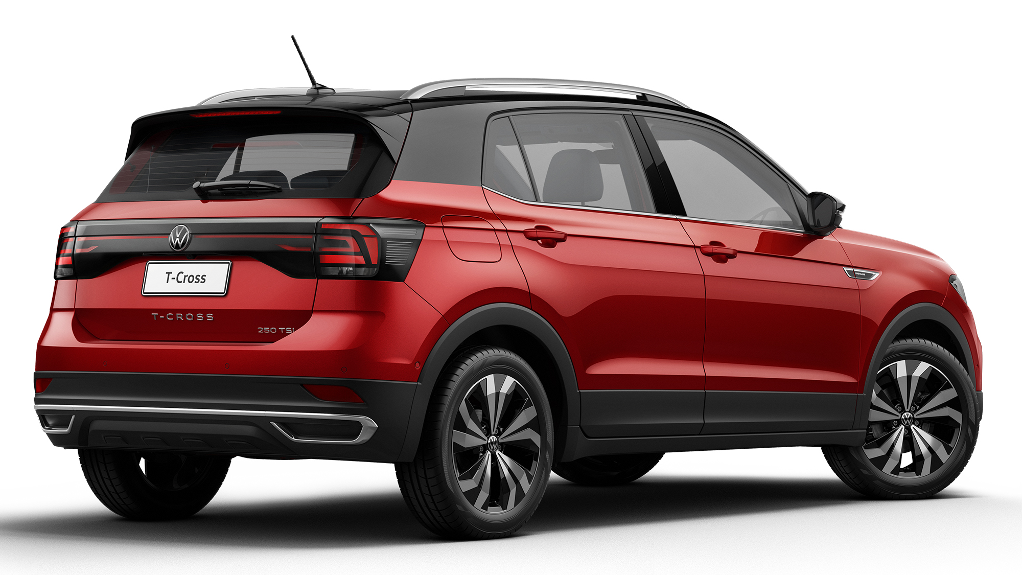 Volkswagen T-Cross 2022 vermelho visto 3/4 de frente