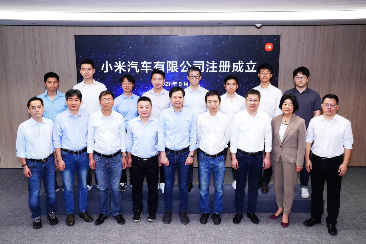 Lei Jun e equipe da Xiaomi EV