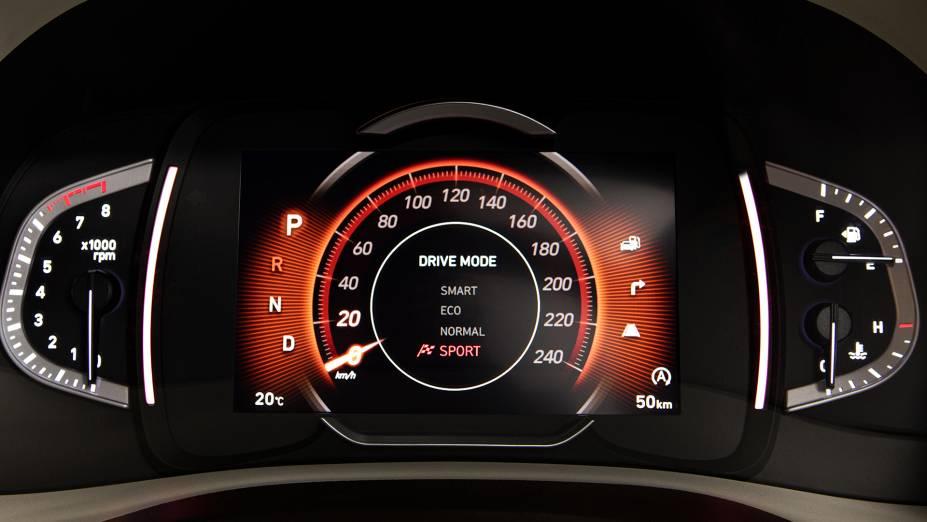 O novo Creta tem quatro modos de direção: Smart, Eco, Normal e Sport